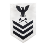 NAVY Men's E4-E6 (DC) Rating Badge: Damage ControlMan - White