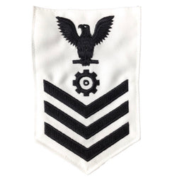 NAVY Men's E4-E6 (EN) Rating Badge: Engineman - White