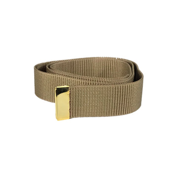 NAVY Men's Khaki Nylon Belt - Gold Tip