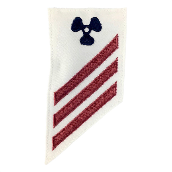 NAVY E2 & E3 (MM) Combination Rating Badge: Machinist Mate - White