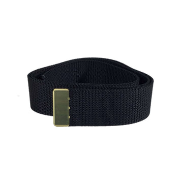 NAVY Men's Black Nylon Belt - Gold Tip