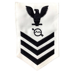 NAVY Men's E4-E6 (OS) Rating Badge: Operations Specialist - White