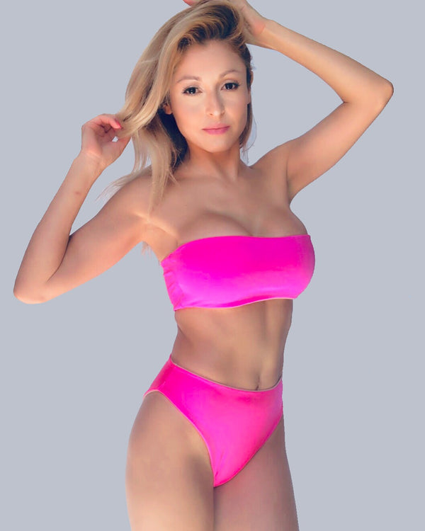 High Waist Beach Soul Bright Neon Pink Bikini Reversible Bottom