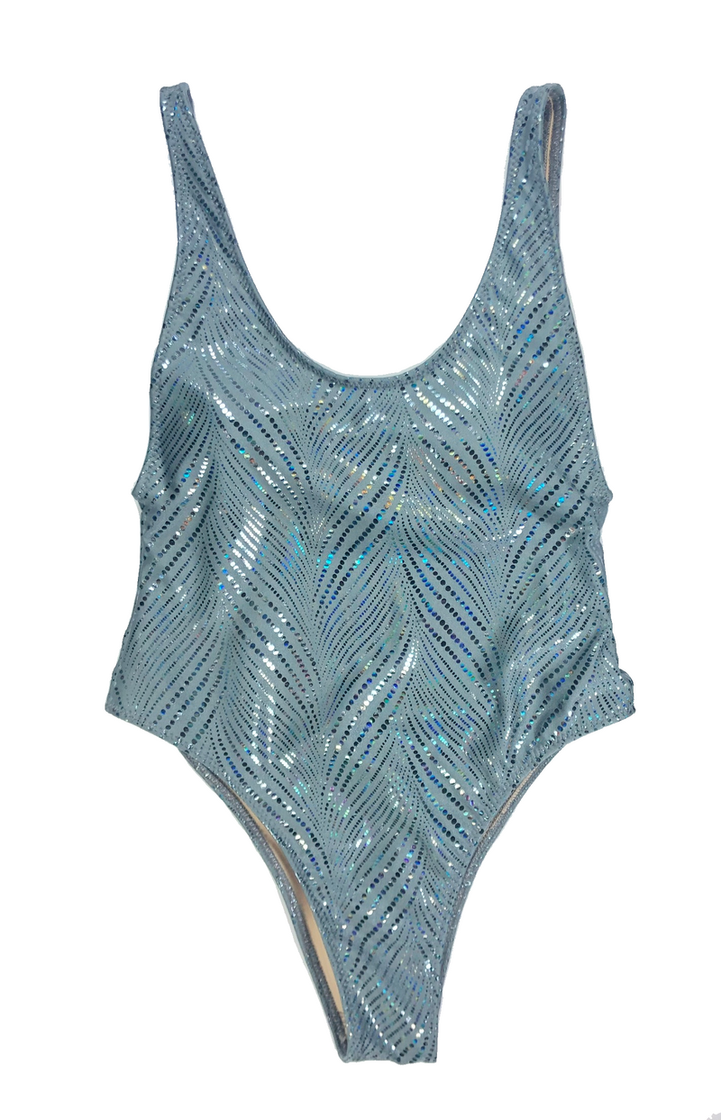 wendolin-designs - Wendolin Designs - Swimsuit - A One Piece Swimsuit High Cut - Color Gray Sparkling