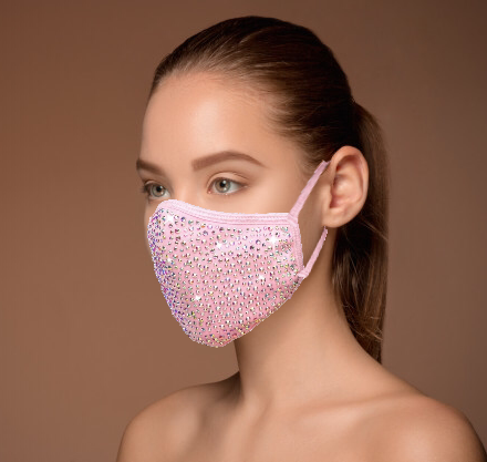 Pink Crystal Face Mask With AB Rhinestone