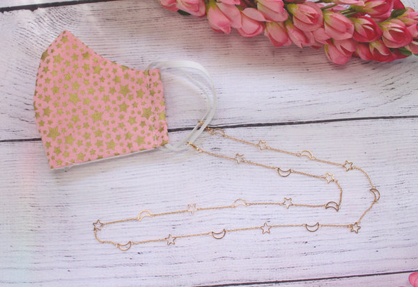 Face mask lanyard - The moon and the stars. Gold color