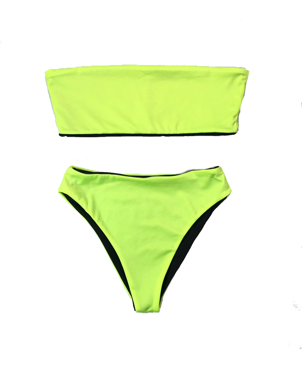 wendolin-designs - Wendolin Designs -  - Reversible High Waist Bikini Bottoms- Neon Green And Black Swimsuit High Leg Cut