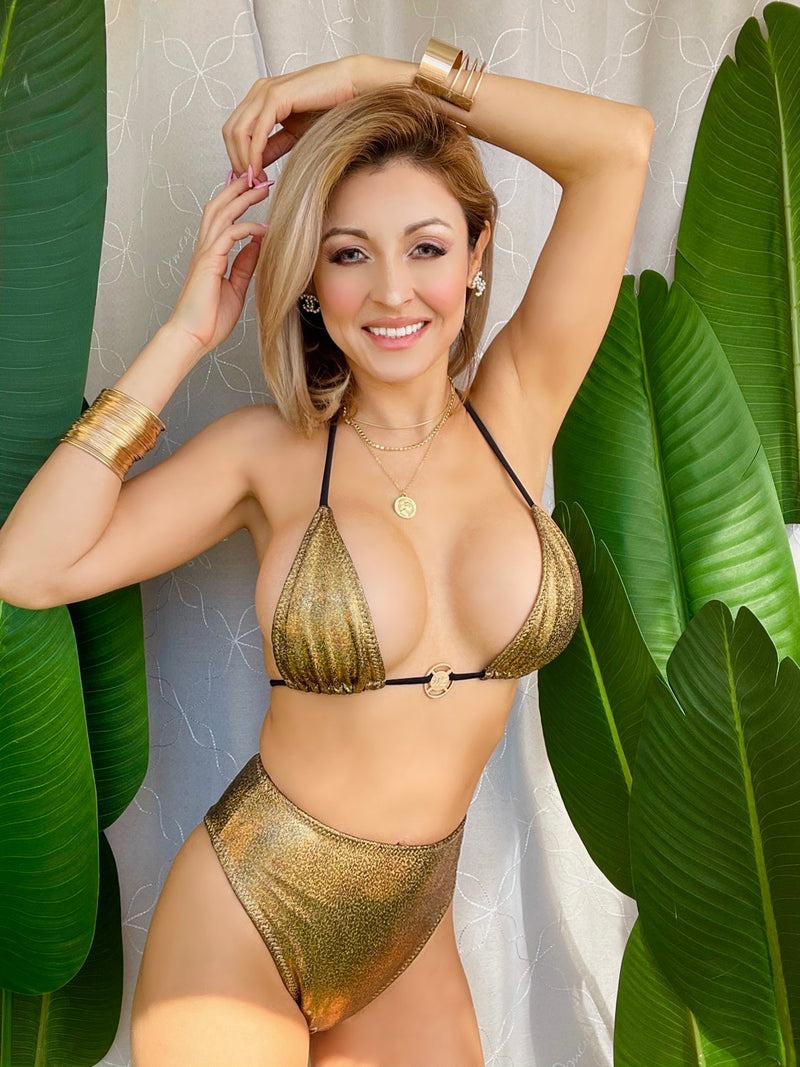High Waist Gold Metallic Holographic Sparking Bikini Bottoms