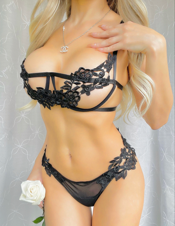 Black Flower Lace Lingerie Set