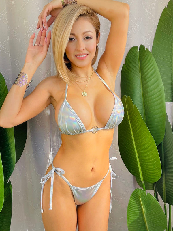 Lexy Shiny Metallic Bikini Set Two Piece Ligth Silver