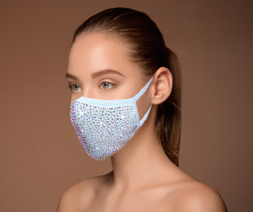 Blue Crystal Face Mask With AB Rhinestones