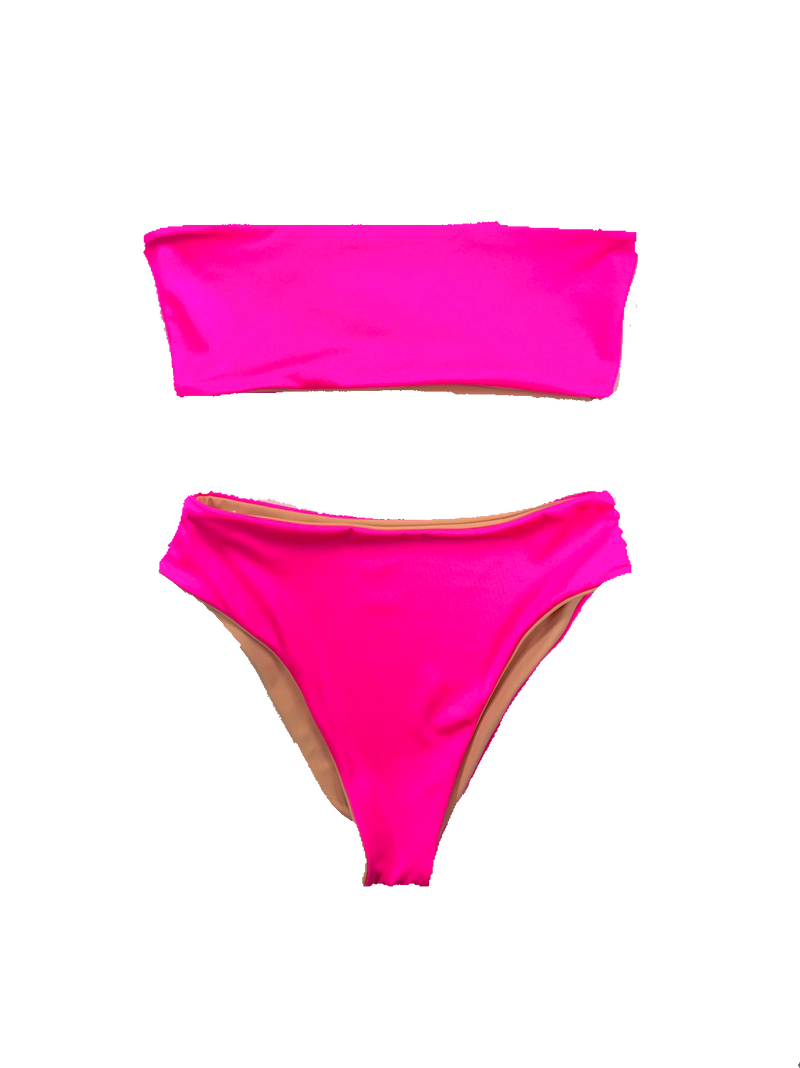 wendolin-designs - Wendolin Designs -  - Neon Pink Bandeau Bikini Top , Swimsuit Top