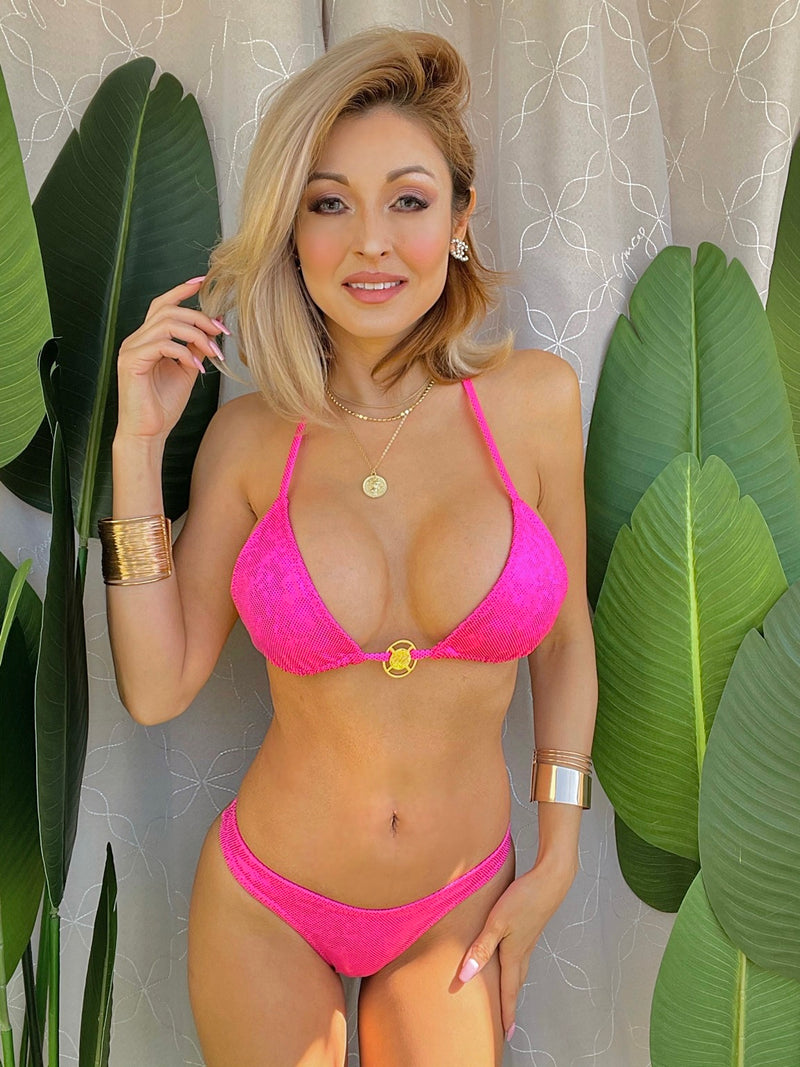 Triangular Bikini Top Pink Holographic