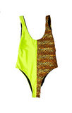 wendolin-designs - Wendolin Designs -  - One Piece Swimsuit Reversible leopard print, neon green and black colors