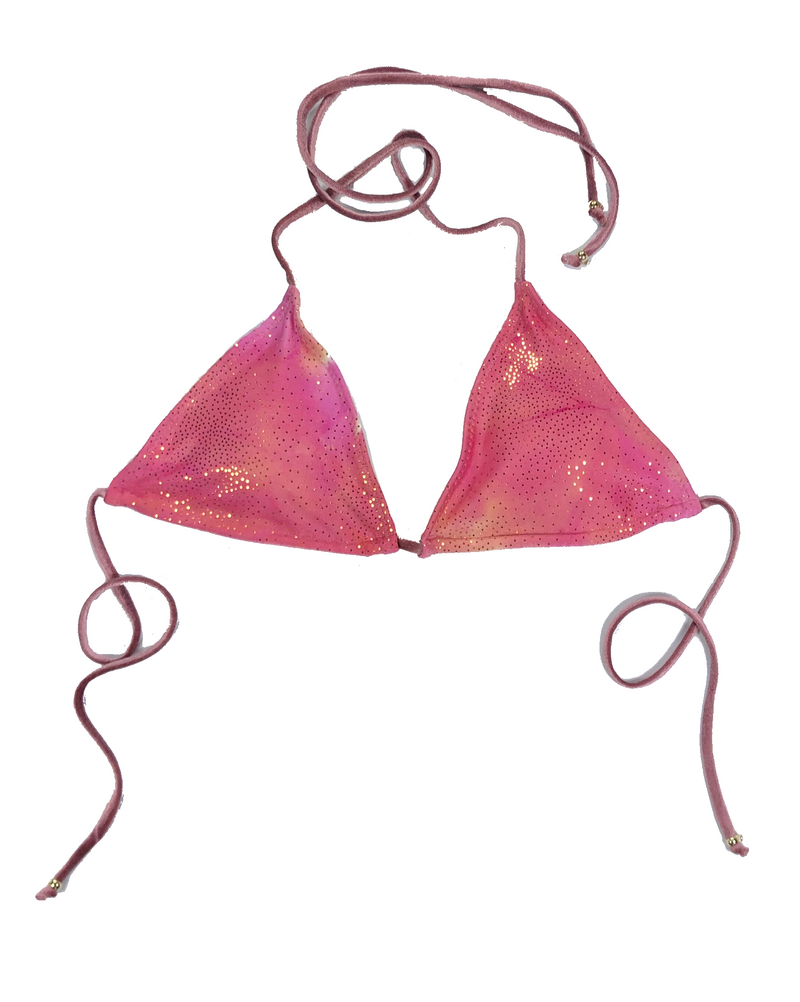 wendolin-designs - Wendolin Designs - Bikini Top - Triangular Bikini  Top - Color Pink and gold tie-dye design