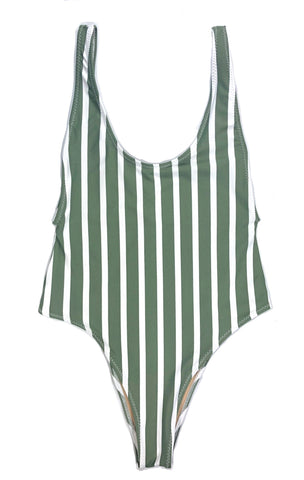 wendolin-designs - Wendolin Designs - Swimsuit - One Piece Swimsuit High Cut- Color Green Striped