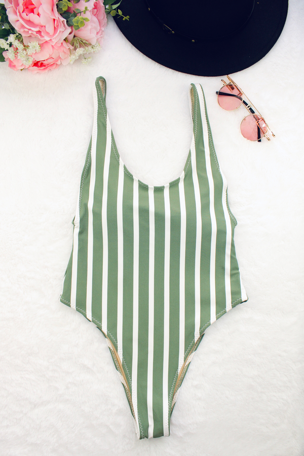 One Piece Swimsuit Striped White Size