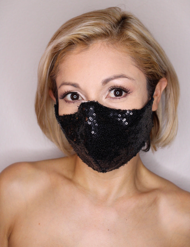 Sparkling Black Sequin Face Mask