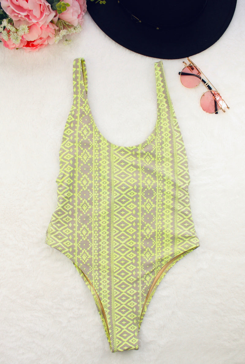 Bohemian One Piece Swimsuit Green & Gray Design