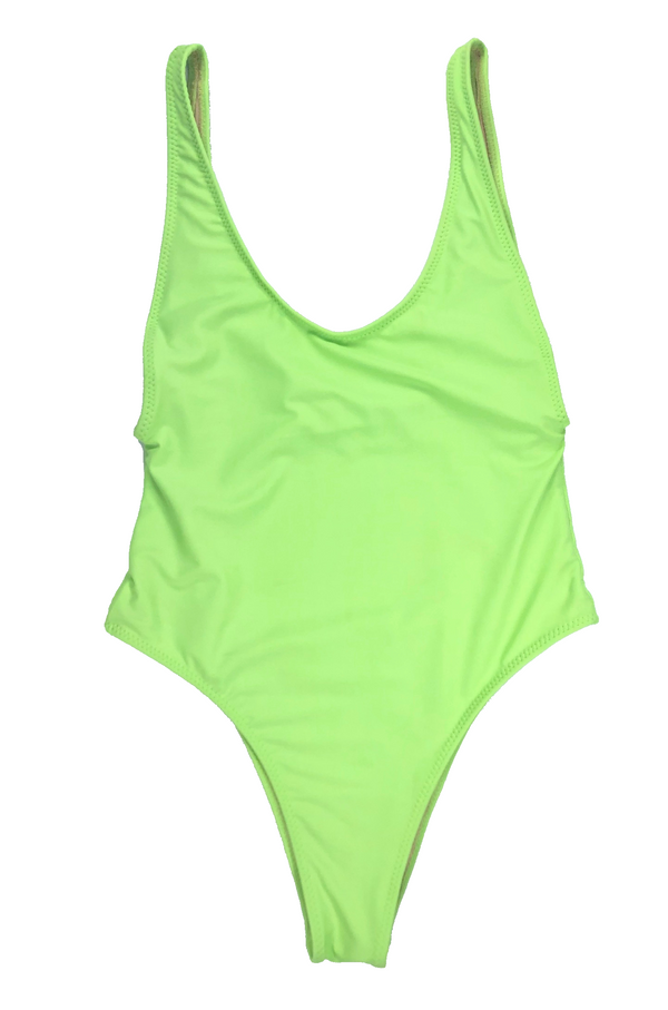 wendolin-designs - Wendolin Designs - Swimsuit - One Piece Swimsuit High Cut-Color Neon Green