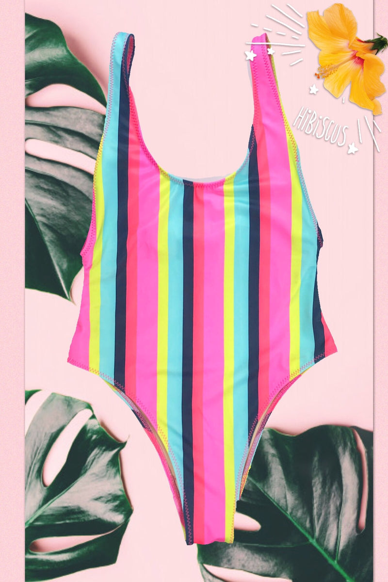 wendolin-designs - Wendolin Designs - Swimsuit - A One Piece High Leg Cut Swimsuit - Pink Multi Color Striped Swimsuit