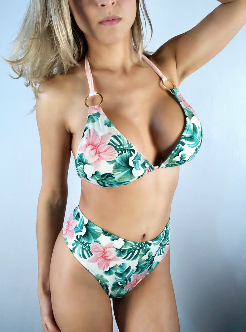 wendolin-designs - Wendolin Designs - Bikini Top - Triangular Bikini Top- Color Tropical With Pink Flowers