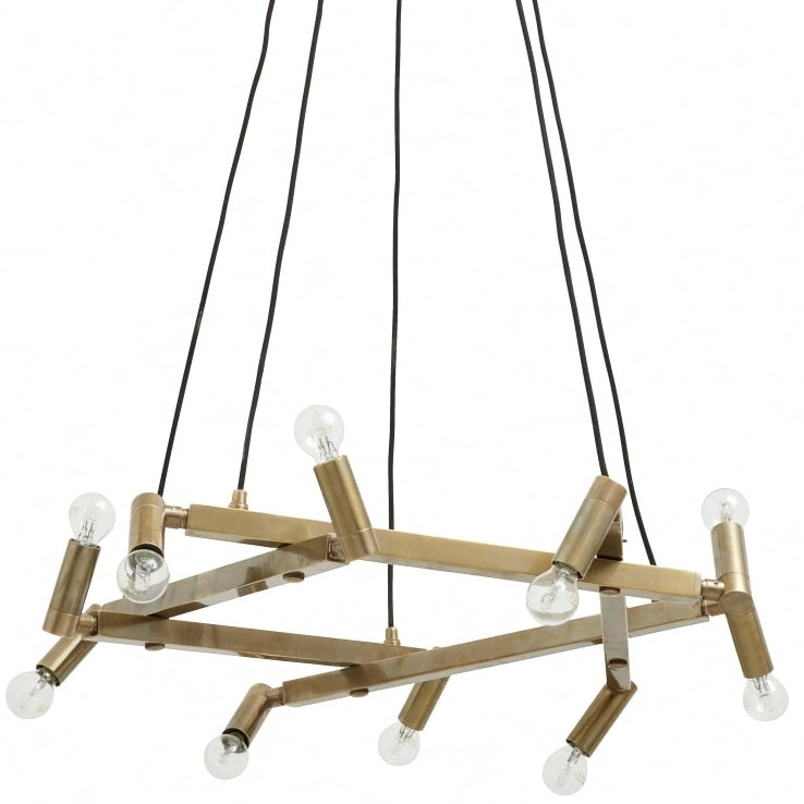 10 light gold crown of bars ceiling light with irregular angled light bulbs