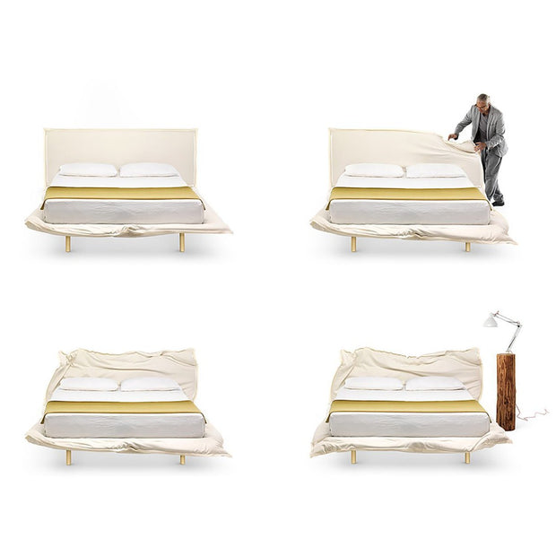 Made to order double bed with customisable padded structure that you can wrinkle up