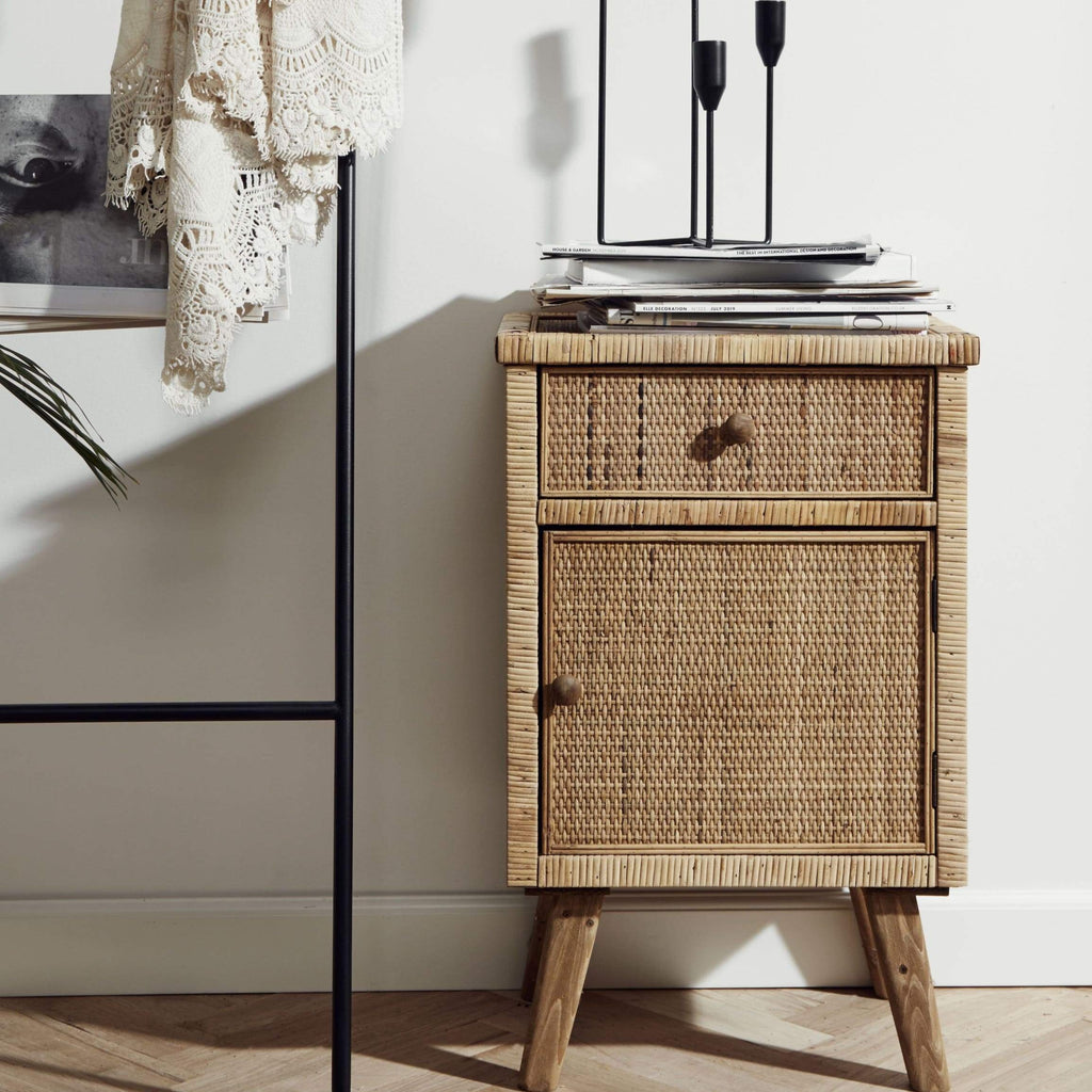 Wicker Bedside Table Limited Abode