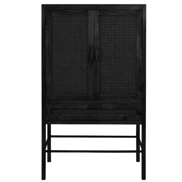 Black teak Japandi style double door cabinet with open wicker mesh weaving