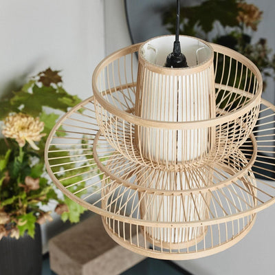 Bamboo circular pendant light