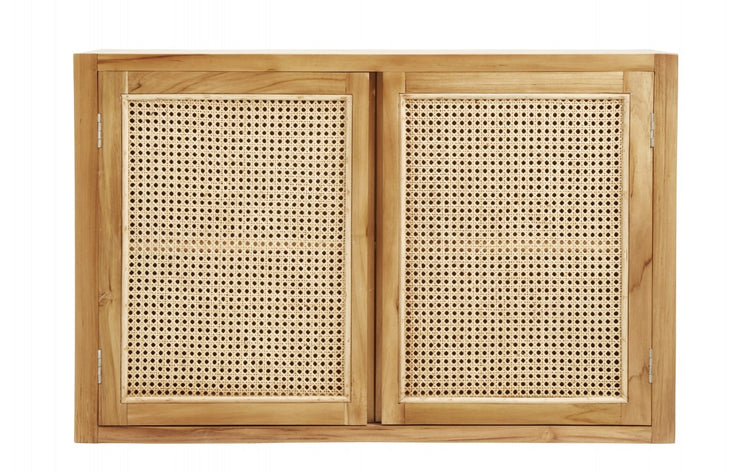 Natural teak floating cabinet with open wicker mesh weaving
