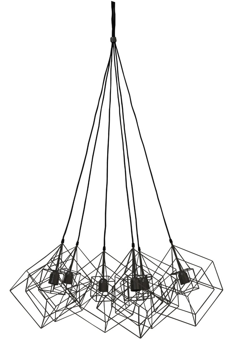 Black 6 light geometric cue design ceiling pendant light