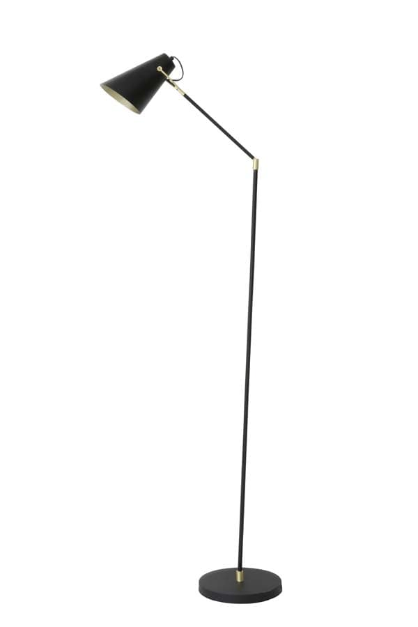 Minimalist sleek black angular metal floor lamp