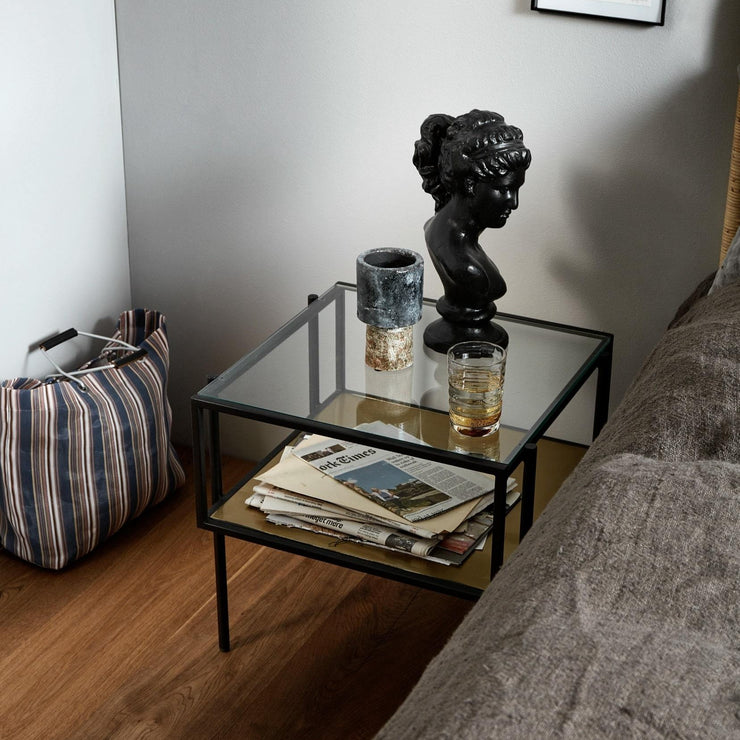 Black frame square side table with a gold base shelf & glass top shelf