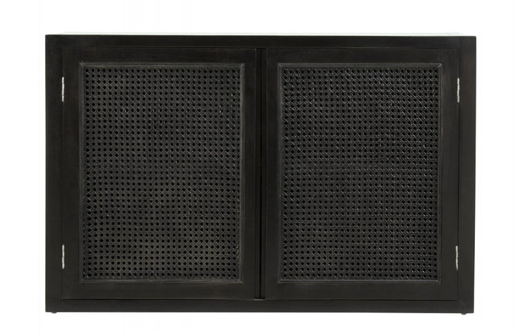Black teak floating cabinet with open wicker mesh weaving