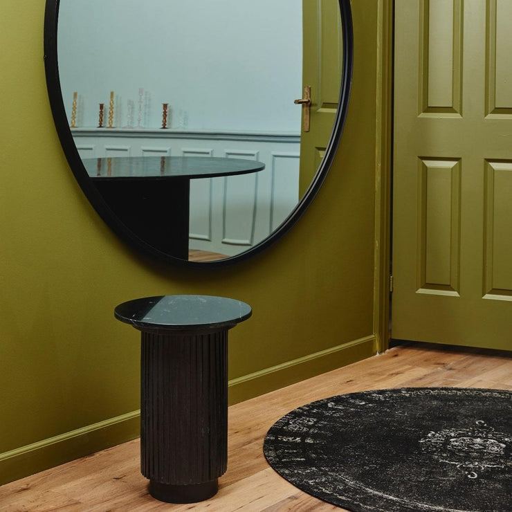 Black marble round side table