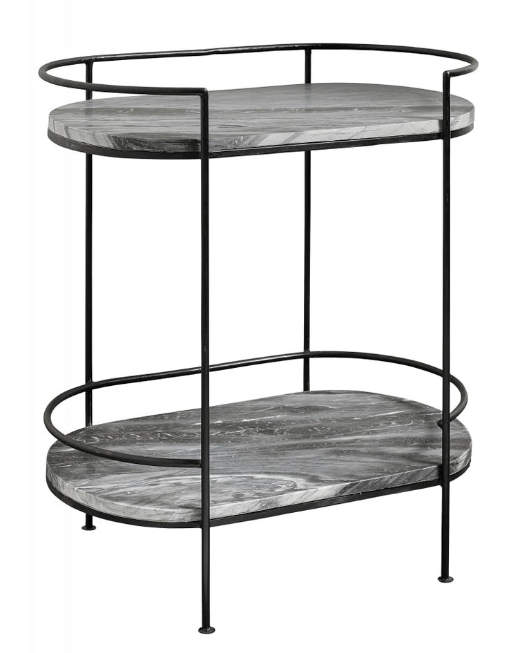 Pill shaped black marble console table with two shelves