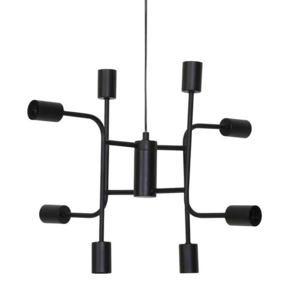 Black multi-angled sockets exposed bulb industrial style ceiling light