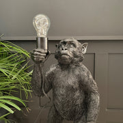 Black standing monkey table lamp