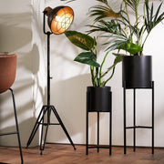 Black tripod industrial style floor lamp