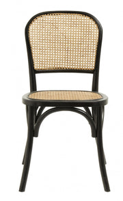 Black wood wicker dining chair