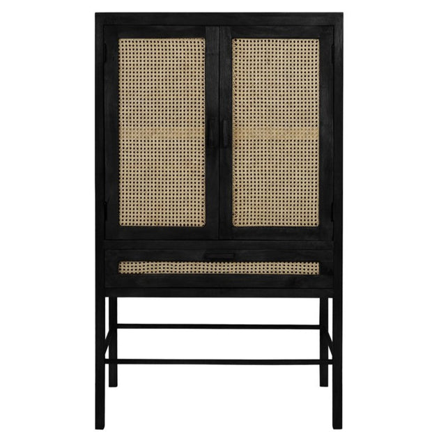 Black and wood teak Japandi style double door cabinet with open wicker mesh weaving