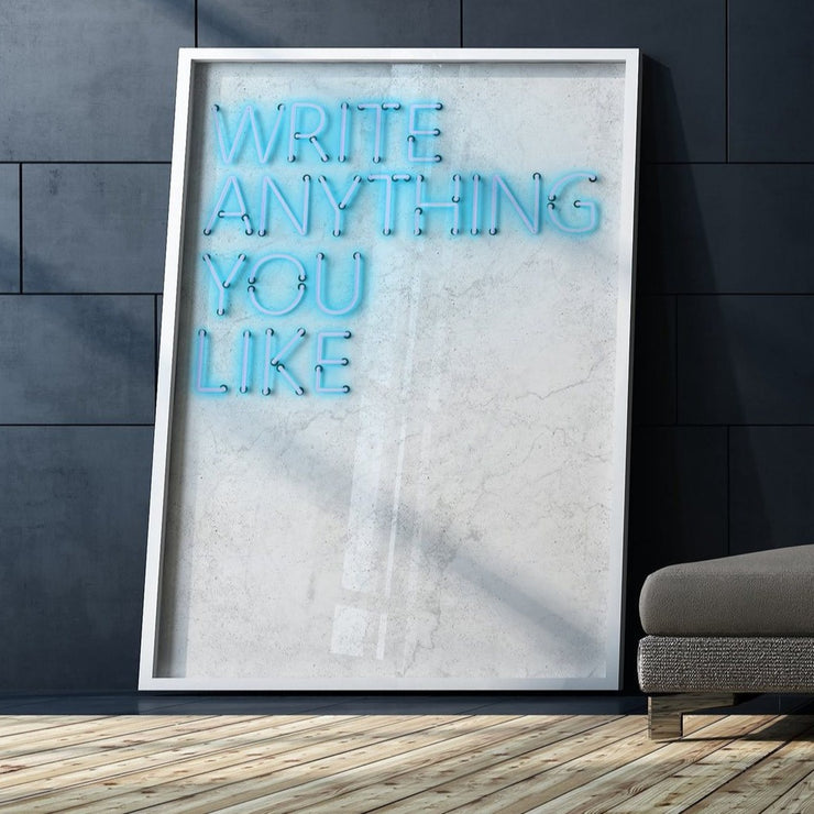 Blue customised neon LED art print on a white marble background