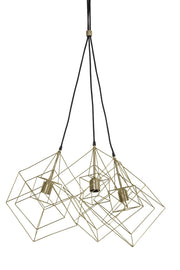 Gold 3 light geometric cue design ceiling pendant light