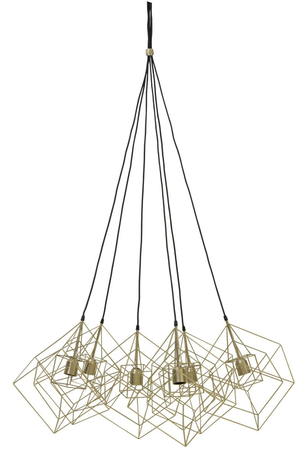 Gold 6 light geometric cue design ceiling pendant light