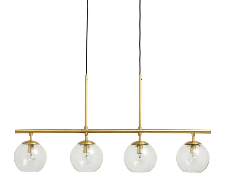 Brass long linear pendant light with four glass globes