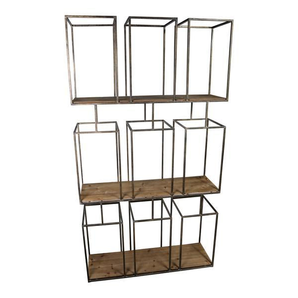 Brass geometric pigeon hole style open shelving unit with wooden shelves