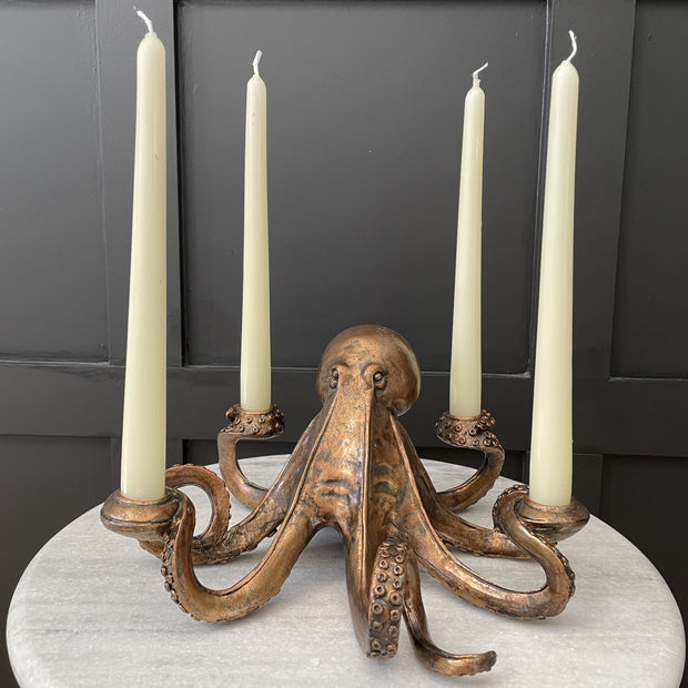 Bronze octopus candle holder