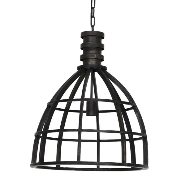 Soft antique black caged industrial style ceiling light